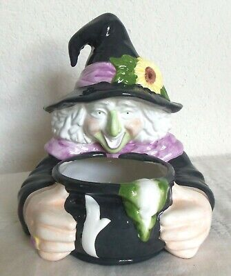 MJ Designs 1990's Halloween Witch Holding Cauldron Candy Dish