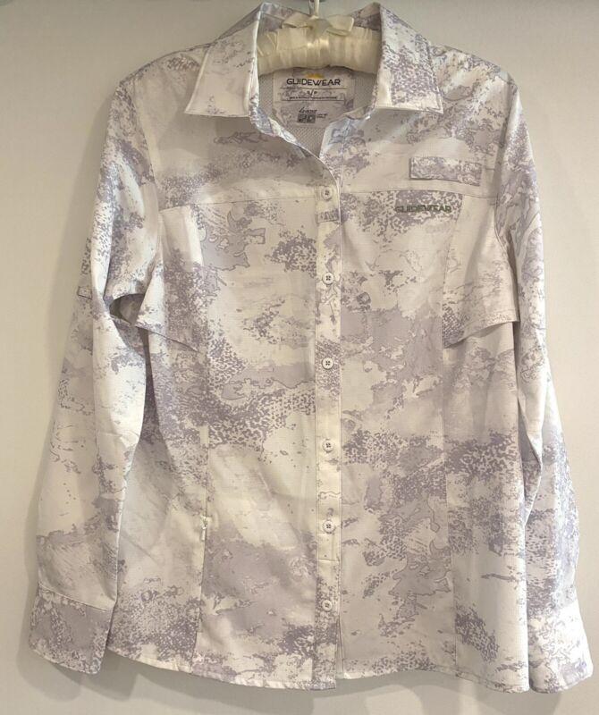 Guidewear Women's Sun Protection Hiking Long Sleeve Shirt, SPF 30, Zip Pocket, S