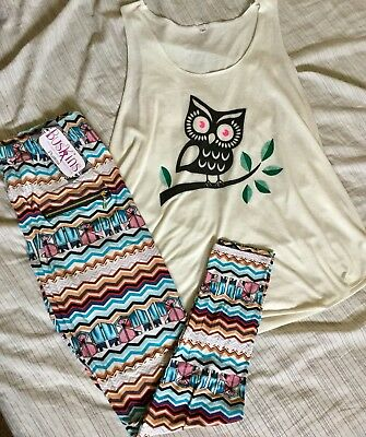 (Buskins Size L Mr. Owl Tank Top And Plus Size Beach Lounger Legging)