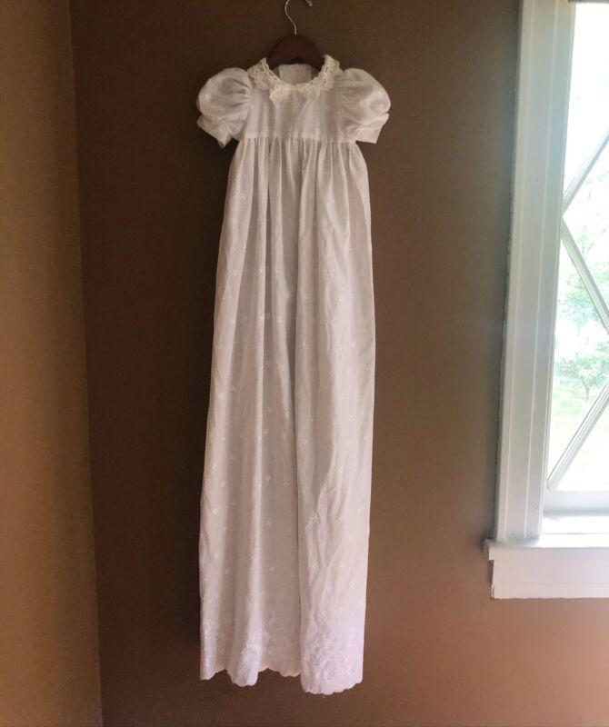 Vintage Lumpasugar White Lace Embroidered Baptism Christening Long Dress 12 Mos
