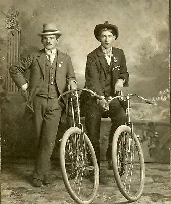 Young Fashion Men with Bicycles, Vintage Photo W F Schreiber West Bend Wisconsin
