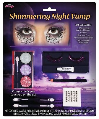 Fun World Shimmering Vampiress Makeup Tray Halloween Vampire Purple Grey Eyelash - Grey Halloween Makeup