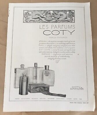 Les Parfums Coty perfume ad 1927 original vintage print 20s art illustration