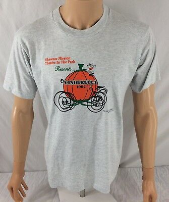 Vtg Screen Stars Cinderella 1992 T-shirt Large Shawnee Mission Theatre Gray
