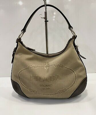 Vintage Prada Jacquard Hobo Bag Shoulder Satchel Handbag Brown Leather