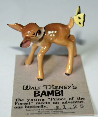 Hagen-Renaker Walt Disney Bambi & Butterfly Fawn Miniature Figurine Card Rare