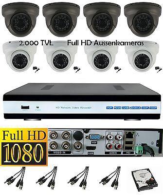 Videoüberwachungspaket 1080p Full HDTV HDMI 8 Kanal DVR Aussen Domekameras 2 MPx Hdtv Dvr