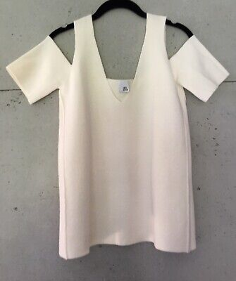 Ivory Cold Shoulder Top by IRIS & INK 'Milano' Wool Knit size M