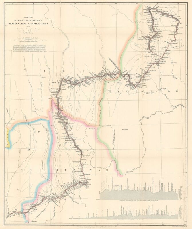 1878 Turner Map of Sichuan and Yunnan, China and Tibet