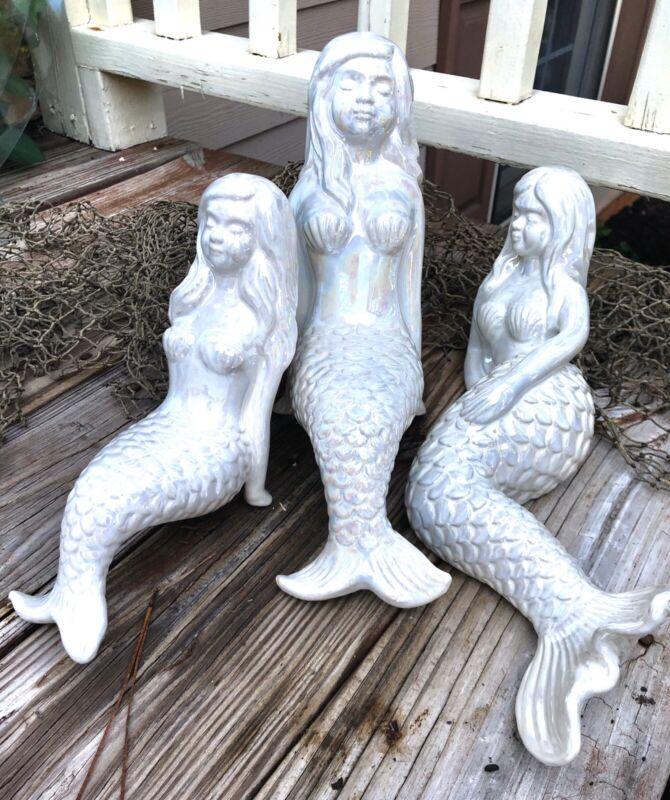 3 Beautiful Ceramic Mermaid Sculpture Figurines Nautical Home Table Shelf Decor