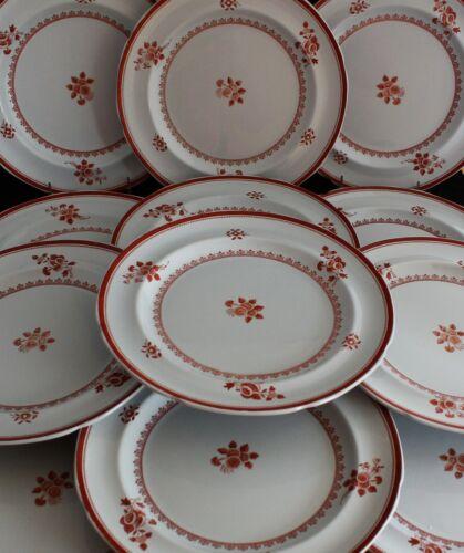 SET 12 Gloucester Red (Fine Stone) Copeland Spode England DINNER PLATES