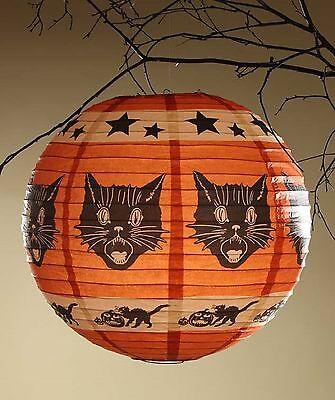 Bethany Lowe Halloween Fraidy Cat Tissue Paper Lantern RL3616 Black Cat MIP