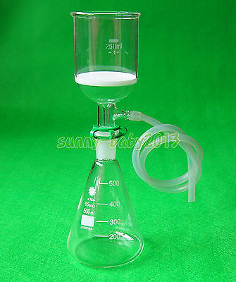 500ml2440glass Suction Filter Kit250ml Buchner Funnel And Erlenmeyer Flask