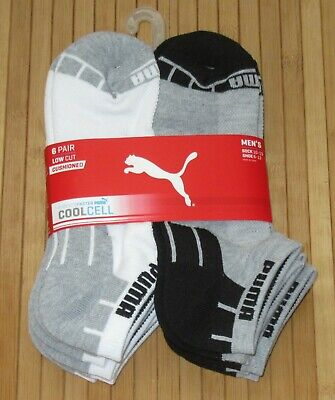 New Men's 6 Pair Puma Cushioned COOLCELL Low Cut Socks Gray/White 10-13