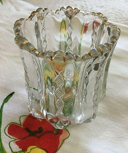 EAPG Spooner 1901 Duncan Miller DIAMOND RIDGE Pattern Glass with Gold