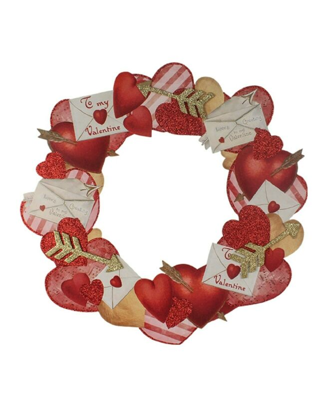 "Bethany Lowe 19"" Valentine Hearts Dummy Board Wreath RL9785 New"