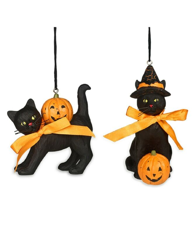 Bethany Lowe Set Of 2 Different Halloween Black Cat Ornaments KL7552 New