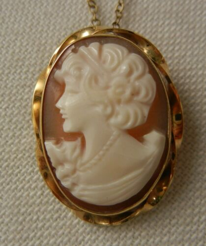 """Gorgeous Cameo Italiano Brooch Pin Gold Filled Pendant Signed Di Luca 18"""" Chain"""