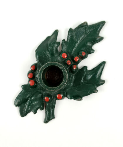 Vintage Cast Iron Green Holly Leaves & Red Berry Christmas Candle Holder Decor