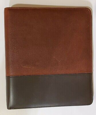 Franklin Covey 11 X 12.5 Leather Binder Brown Two Tone 7 1-inch Rings Organizer