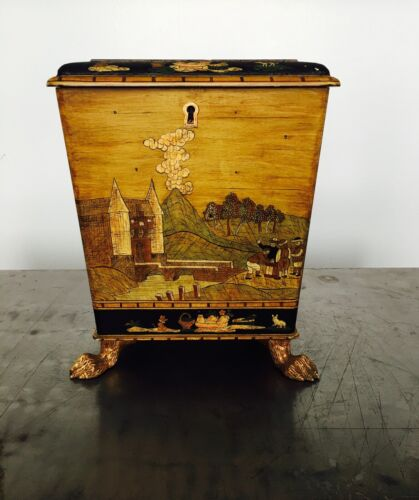 Vintage Decorative Footed Box w/ Detailed Art Woodenware