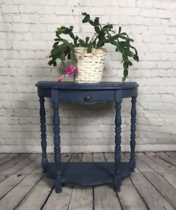 Blue tiered table with drawer