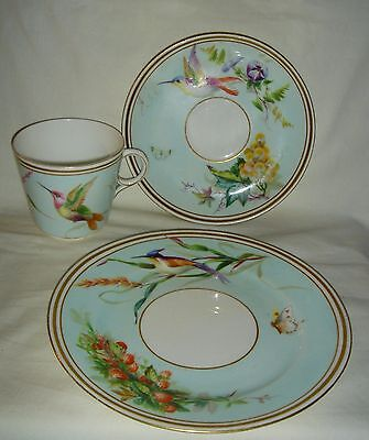 QUALITY ANTIQUE ENGLISH PORCELAIN CUP, SAUCER & PLATE (TRIO) HAND PAINTED SIGNED