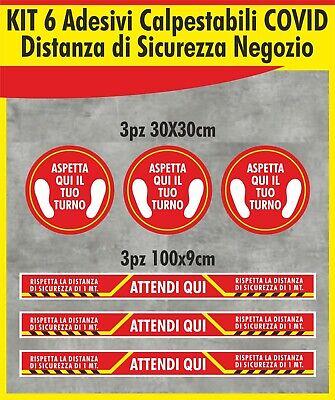 arancio covid Emergenza sanitaria Adesivi aspetta qui il tuo turno distanza calpestabili antiscivolo 5 pz 30 x 30 cm