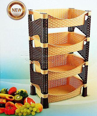 Galaxy HQ 4 Tier Plastic Fruit Vegetable Kitchen Storage Rack Trolley LB/CHOC