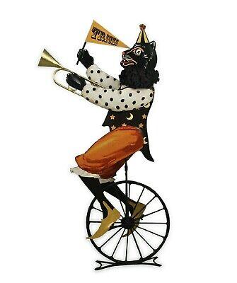 Bethany Lowe Halloween Circus Cat On Unicycle TF7656 Tin Black Cat