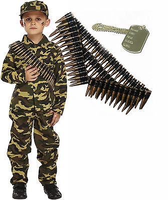 Costumes Army (Army Boy Kids Soldier Action Man Fancy Dress Costume Outfit Bullet Belt Dog)