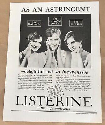 Listerine astringent 1927 original vintage print 20s art illustration portraits