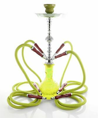 4- Hose Exotic Shisha Yellow Luxury pipe Hookah gif set best sale Nargila