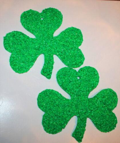 Lot of 2 Melted Plastic Popcorn Shamrocks St. Patrick