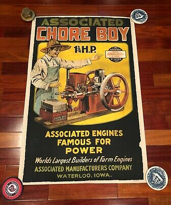 New 24x36 Large Print Associated Chore Boy Hit And Miss Gas Engine Poster Sign