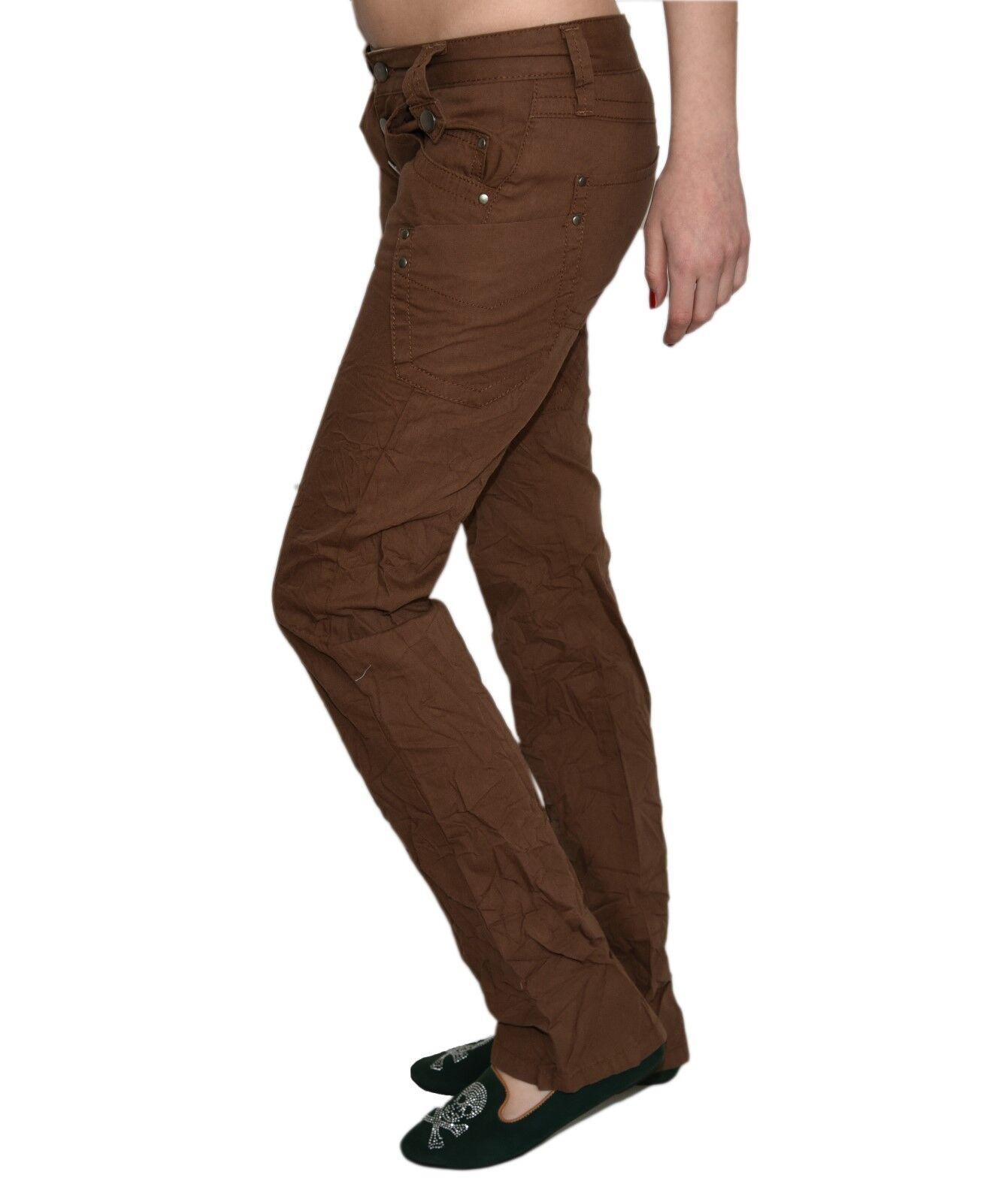 Damen Jeans Hüfthose Hose Denim Stoff Braun Bootcut Decon-Yvonne-