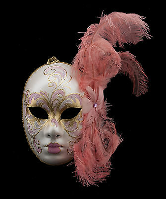 Mask from Venice Face Volto in Feathers Ostrich Golden Rose-Mask Venetian 1408