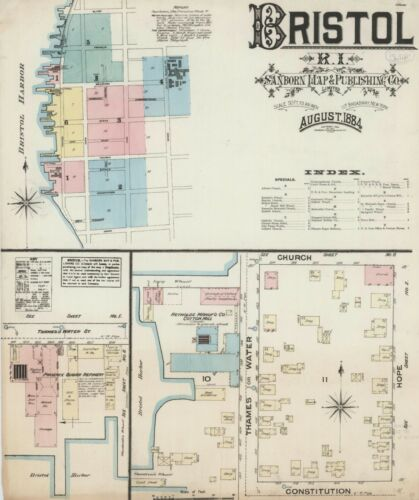 Bristol, Rhode Island~Sanborn Map© sheets 1884  to 1947 with 96 maps on CD