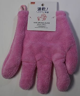 Daiso Japan Hair Drying Glove Quieck Dry Towel Speed Up Quick Hair Dry pink