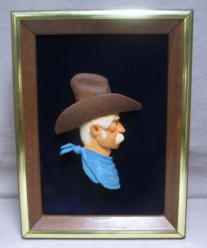 Signed Wakefield Carved & Painted Wood Cowboy Silhouette In Frame