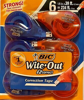 Bic Wite-out Ezcorrect Correction Tape - 6 Pack - White Out
