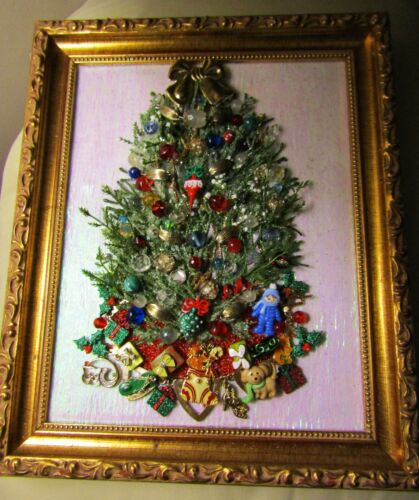 Jewelry Art;Vintage to Now. Old Fashioned Christmas Tree. 8x10 Framed