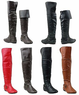 NEW Women Sexy Fold Over Knee High Faux Leather FLAT Heel Zip Boot Shoe All Size