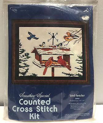 Blue Jay Feeder (Bird Feeder Winter Scene Cardinal Blue jay Sealed Counted Cross Stitch Kit 50050)
