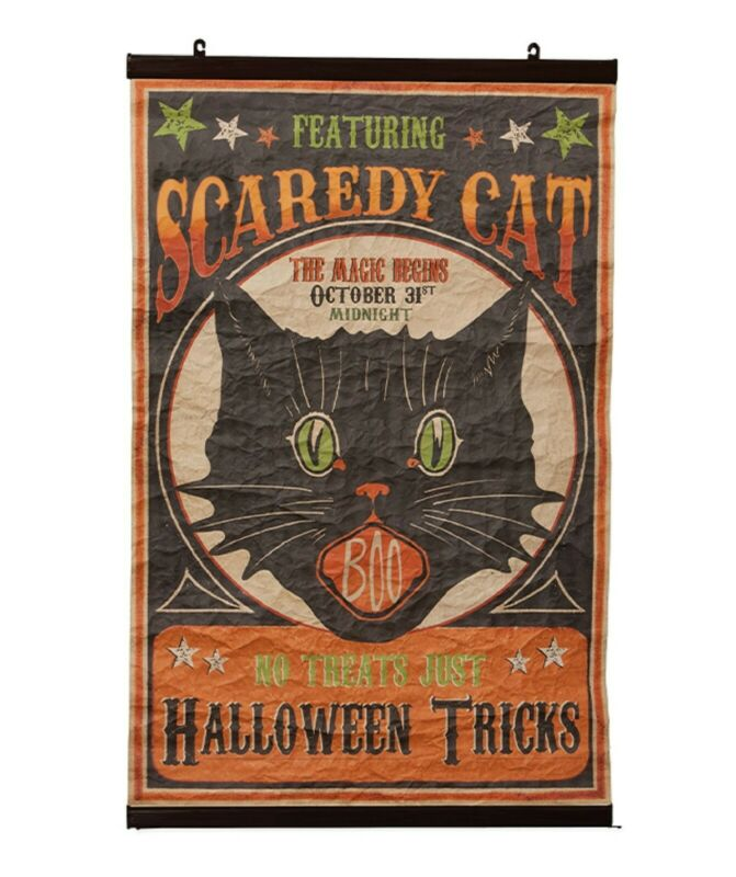 "Bethany Lowe Halloween Large 37"" Scaredy Cat Scroll LO7208 Black Cat New"