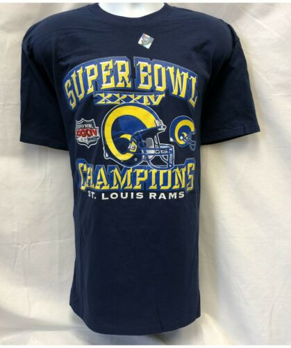 477007ba194 SUPER BOWL XXXIV CHAMPIONS ST. LOUIS RAMS BLUE T-SHIRT L XL 2XL FREE  SHIPPING
