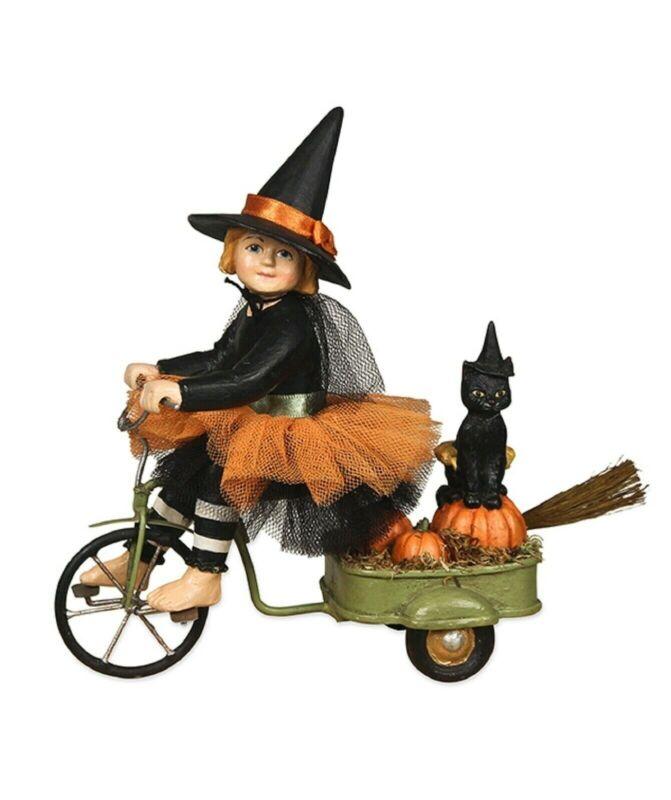 Bethany Lowe Izzie's Halloween Ride TD7640 New Witch Black Cat Riding