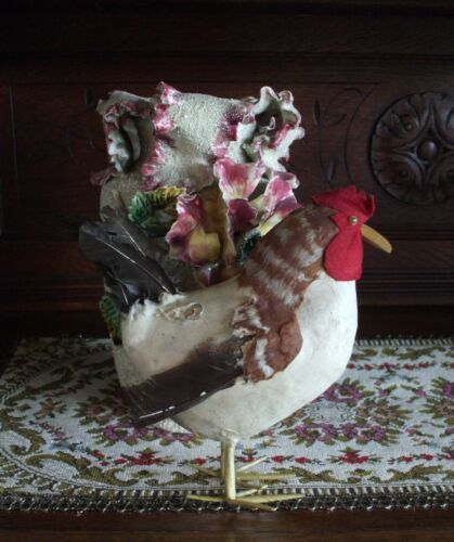 Antique Vintage Cotton Batting Candy Container Lg Rooster Chicken Paper Mache