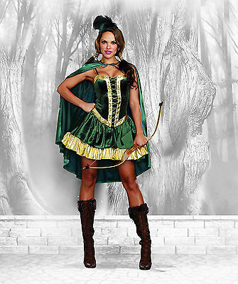 Sexy 4PC Women's Robin Hood Archer Halloween Fairytale Costume. M and XL