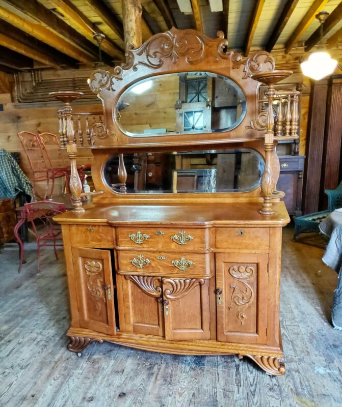 FANCY VICTORIAN QUARTERSAWN OAK SIDEBOARD